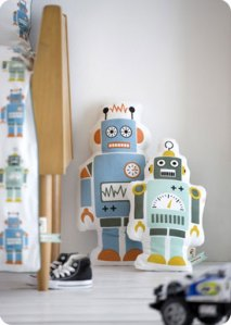 Robot cushion nursery decor